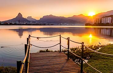 Sunset at Lagoa Rodrigo de Freitas in Rio de Janeiro, Brazil, South America