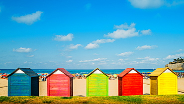 Colourful wooden huts at Peniscola beach, Castellon, Spain, Europe