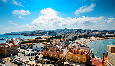 View from castle, Peniscola, Castellon, Spain, Europe