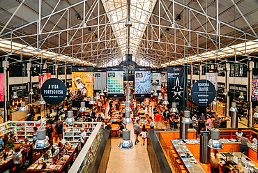 Time Out Market is a popular food hall located in Mercado da Ribeira at Cais do Sodre, Lisbon, Portugal, Europe