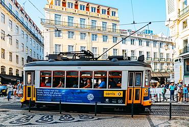 Traditional tram at Chiado neighbourhood in Lisbon, Portugal, Europe