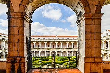 Interior courtyard of 17th century Convento de Santos-o-Novo in Lisbon, Portugal, Europe