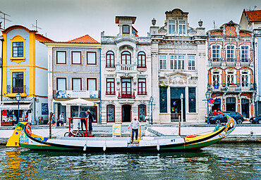 Colourful decorative Moliceiro boat, typical to the town of Aveiro in Central Portugal, Europe
