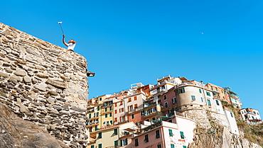 A man taking a selfie at Manarola, Cinque Terre, UNESCO World Heritage Site, Liguria, Italian Riviera, Italy, Europe