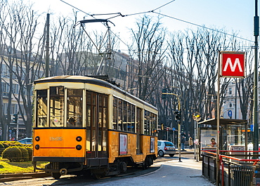 Metro Milan and traditional tram, Milan, Lombardy, Italy, Europe