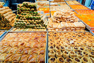 Traditional Israeli sweets in a market in Jerusalem, Israel, Middle East