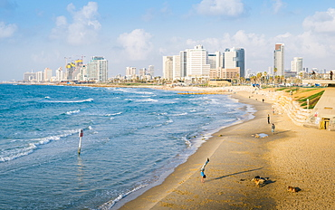 View of Neve Tzedek district skyline and Mediterranean in the evening, Tel Aviv, Israel, Middle East