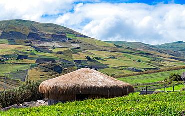 A traditional straw house in the Ecuadorian Andes, Ecuador, South America