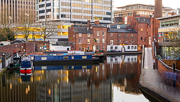 Houseboats on Gas Street Basin in the heart of Birmingham, England, United Kingdom, Europe.