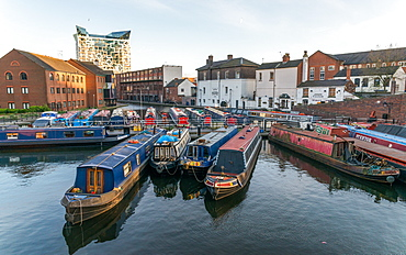 Houseboats on the Gas Street Canal Basin in the heart of Birmingham, England, United Kingdom, Europe