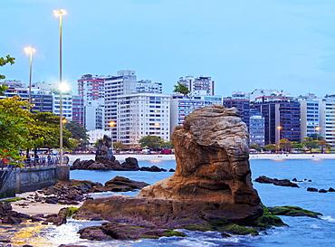 Twilight view towards Icarai Beach with skyline of Niteroi, State of Rio de Janeiro, Brazil, South America