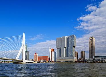 Erasmus Bridge and Kop van Zuid skyline, Rotterdam, South Holland, The Netherlands, Europe