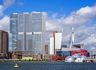 Kop Van Zuid skyline seen from Rijnhaven, Rotterdam, South Holland, The Netherlands, Europe