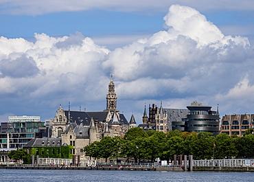 View over River Scheldt towards Het Steen Castle and Sint-Pauluskerk, Antwerp, Belgium, Europe