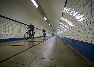 Pedestrian Tunnel of St. Anna under the River Scheldt, Antwerp, Belgium, Europe