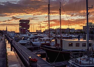 Bonapartedok at sunset, Antwerp, Belgium, Europe