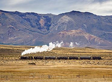 Old Patagonian Express La Trochita, steam train, Chubut Province, Patagonia, Argentina, South America