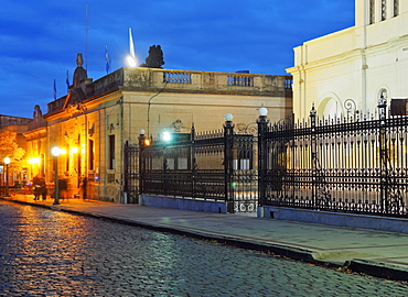 Twilight view of the centre of the town, San Antonio de Areco, Buenos Aires Province, Argentina, South America