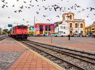 Train arriving at Railway Station in Riobamba, Chimborazo Province, Ecuador, South America