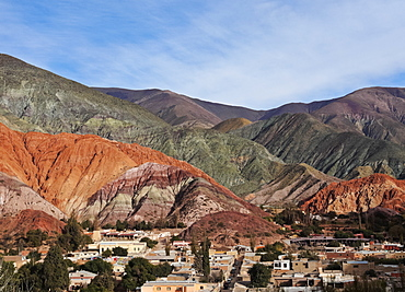 Elevated view of the town and the Hill of Seven Colours (Cerro de los Siete Colores), Purmamarca, Jujuy Province, Argentina, South America
