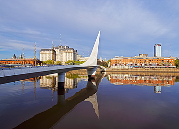 View of Puente de la Mujer in Puerto Madero, City of Buenos Aires, Buenos Aires Province, Argentina, South America