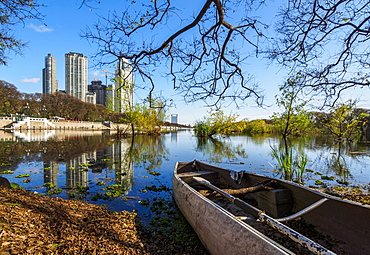 View of Laguna de los Coipos and High Rise Buildings in Puerto Madero, City of Buenos Aires, Buenos Aires Province, Argentina, South America
