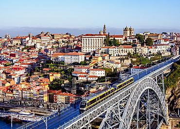 Dom Luis I Bridge, elevated view, UNESCO World Heritage Site, Porto, Portugal, Europe