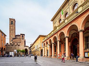 Bologna Municipal Theater and Padri Agostiniani Convent, Piazza Giuseppe Verdi, Bologna, Emilia-Romagna, Italy, Europe