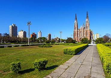 View of the Plaza Moreno and the Cathedral of La Plata, La Plata, Buenos Aires Province, Argentina, South America