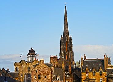 View towards The Hub and Camera Obscura, Old Town, Edinburgh, Lothian, Scotland, United Kingdom, Europe