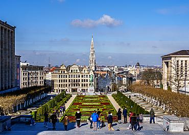View over Mont des Arts Public Garden towards Town Hall Spire, Brussels, Belgium, Europe