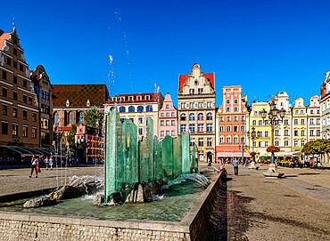 Fountain and Tenement Houses at Old Town Market Square, Wroclaw, Lower Silesian Voivodeship, Poland