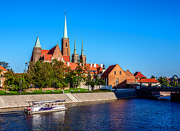 View over Oder River towards Holy Cross Church at Ostrow Tumski District, Wroclaw, Lower Silesian Voivodeship, Poland