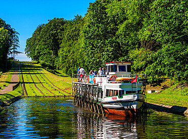 Tourist Boat in Cradle at Inclined Plane in Buczyniec, Elblag Canal, Warmian-Masurian Voivodeship, Poland