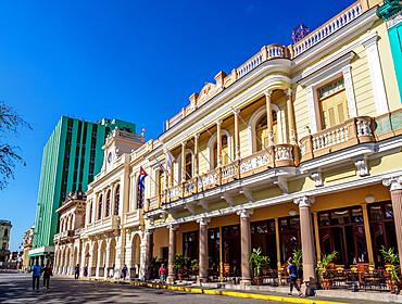 Architecture at Parque Vidal, Santa Clara, Villa Clara Province, Cuba, West Indies, Caribbean, Central America