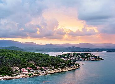 Santiago de Cuba Bay at sunset, elevated view, Santiago de Cuba Province, Cuba, West Indies, Caribbean, Central America