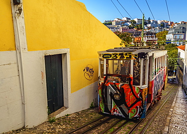 View of the Lavra Funicular, Lisbon, Portugal, Europe