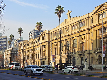 Liberador Avenue, view of the headquarters of the Pontifical Catholic University of Chile, Santiago, Chile, South America