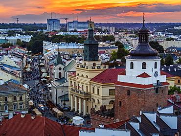 Elevated view towards the Krakow Gate, City Hall and Krakowskie Przedmiesc, Old Town, City of Lublin, Lublin Voivodeship, Poland, Europe