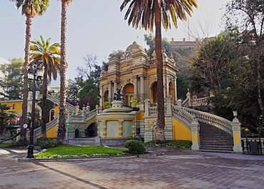 View of the Neptune Fountain and Terrace on the Santa Lucia Hill, Santiago, Chile, South America