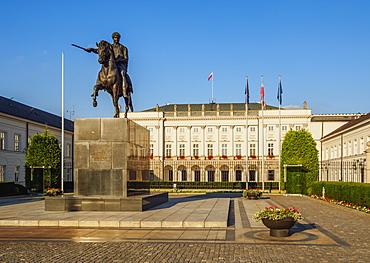 Krakowskie Przedmiescie Street, Presidential Palace and Prince Jozef Poniatowski Statue, Warsaw, Masovian Voivodeship, Poland, Europe