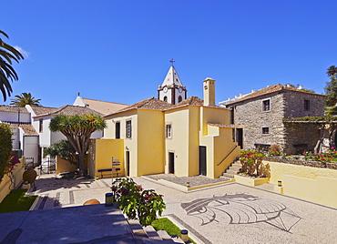 View of the Casa de Cristovao Colombo Museum and the Church tower, Vila Baleira, Porto Santo, Madeira Islands, Portugal, Europe