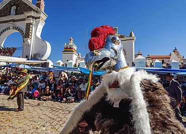 Dancer in Condor costume, Fiesta de la Virgen de la Candelaria, Copacabana, La Paz Department, Bolivia, South America
