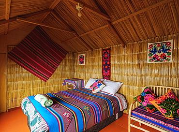 Room interior, Uros Titicaca Lodge, Uros Floating Islands, Lake Titicaca, Puno Region, Peru, South America
