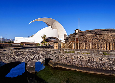 Castle of San Juan Bautista and Auditorium Adan Martin, Santa Cruz de Tenerife, Tenerife Island, Canary Islands, Spain, Europe