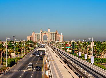 Monorail to Atlantis The Palm Luxury Hotel, Palm Jumeirah artificial island, Dubai, United Arab Emirates, Middle East