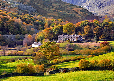 An autumn view of the scenic Langdale Valley, Lake District National Park, Cumbria, England, United Kingdom, Europe - 1246-3