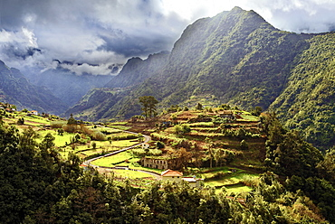 Elevated view of farmland and tree covered hills and mountains near Boaventura, Madeira, Portugal, Atlantic, Europe - 1246-32