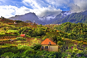 Elevated view of village and tree covered hills and mountains at Lameiros, near Sao Vicente, Madeira, Portugal, Atlantic, Europe - 1246-33