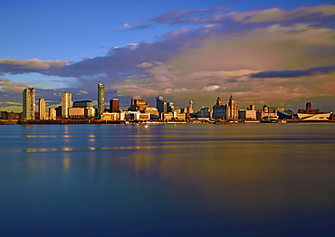 An evening view looking across the River Mersey of Liverpool Waterfront, Liverpool, Merseyside, England, United Kingdom, Europe - 1246-42